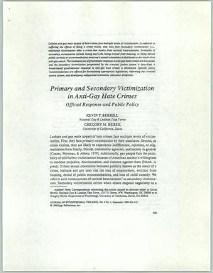 Primary view of object titled '[Clipping: Primary and Secondary Victimization in Anti-Gay Hate Crimes]'.