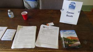 Primary view of object titled '[Materials at the Career Booth]'.