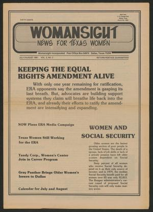 Primary view of Womansight: News for North Texas Women, Volume 2, Number 1, July/August 1981