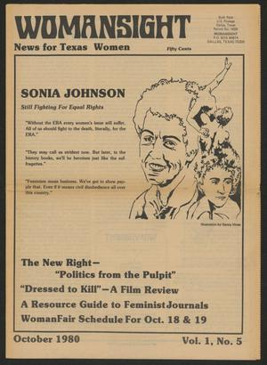 Primary view of object titled 'Womansight: News for North Texas Women, Volume 1, Number 5, October 1980'.