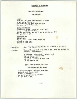 The Magic of Peter Pan songs and screenplay script, Molly Behannon Collection