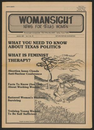 Primary view of object titled 'Womansight: News for North Texas Women, Volume 1, Number 10, March 1981'.