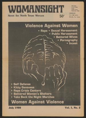 Primary view of object titled 'Womansight: News for North Texas Women, Vol. 1, No. 2, July 1980'.