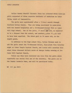 Primary view of object titled '[News Script: Girls arrested]'.