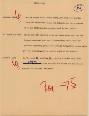 Primary view of [News Script: Dyson Wade]