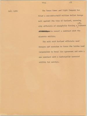 Primary view of [News Script: Texas Power and Light Company]