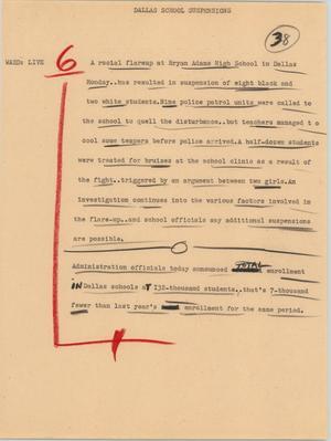 Primary view of [News Script: Dallas school suspensions]