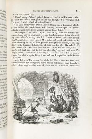 Se muestra la página de un libro. Tres cuartos de la página están llenos de párrafos. El cuarto inferior de la página es un dibujo. Un perro a la derecha está atado con una cadena. El perro intenta saltar sobre un hombre que está delante de él. El hombre tiene un sombrero en en la mano derecha y lo levanta delante de él.