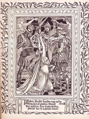 A page with a leaf-like design around the edge. In the middle is a page with knights drawn on it, with a woman kneeling with her arms raised. At the bottom of the page is a banner with words in an old script.