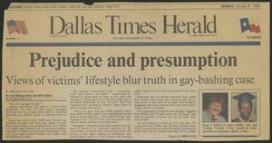 Dallas Times Herald newspaper close up. A red line is underneath the newspaper title. The article under it is titled A case of prejudice. A picture of a red head man is on the left side of the page, alongside a pic of an African American man wearing a blue graduation cap.
