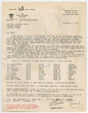 A page with a typed letter. The top right of the page has the address, the bottom left of the page has a red note. The bottom right of the page is the signature of the letter.