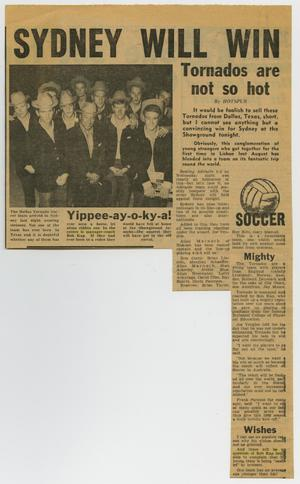 A newspaper clipping titled Sydney Will Win at the top in bold letters. Under it on the left is a picture of several men in cowboy hats.
