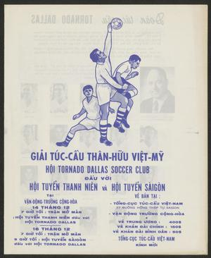 White page, the first half of the page is a drawing of three men. The one in the middle has his left arm in the air, the soccer ball near him. The man on his left is squatting, looking up at the ball. The man on the right is jumping in the air. Below the drawing is text in Vietnamese.