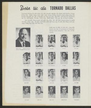 White page title Tornado Dallas at the top. Under the title are two paragraphs of text, then four rows of 5 pictures of men.