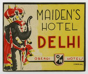 A yellow square decal, framed in black. The left side is an elephant with a crown in red, and a robe.  To the right of that is the hotel name in big letters.