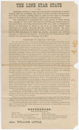 The top of the page says The Lone Star State in bold letter, with the rest of the page in smaller letters. The bottom of the page has the words William Little.