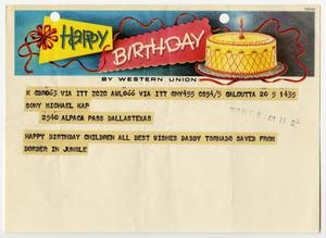 A telegram with a banner at the top of it thats says Happy Birthday, a birthday cake next to it in the banner. Under that is black text highlighted by yellow.