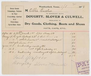 An old receipt. On the left corner on the top is notes on the purchase. On the right is a signature and the words Dry Goods, Clothing, Boots and Shoes on it. At the bottom of the page are notes in handwriting.