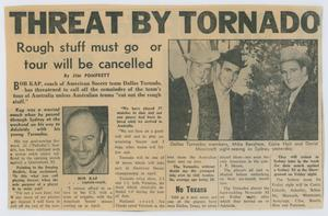 A newspaper clipping with the title at the top in bold letters. Under it on the right are three men with cowboy hats. The rest is an article consisting of six columns of text.