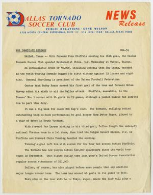 A yellow news page, in the top right corner are the words News Release in orange. The left side of the top has the words Dallas Tornado Soccer Club, the letter D a bigger size in orange, with a soccer ball on it. The rest of the page has an outline title, under it six paragraphs of text.