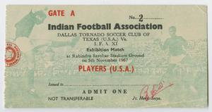 A white ticket with a faded green photo of a soccer match. The words Indian Association are on it in black ltters, the words admit one at the bottom.