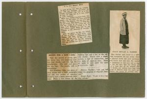 3 newspaper clippings on a worn page. The two on the left are just text. The one on the right has text as well as a photo of a woman in a hat and dress.