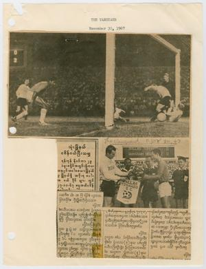 A newspaper page with the left side of it cut off. The top of it is of soccer players at a soccer goal. The bottom of it is text with another photograph.