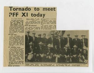 A newspaper clipping titled Tornado to meet at the top in black letters, a column of text under it. To the right of the text is a photo of men in hats lined side by side each other.