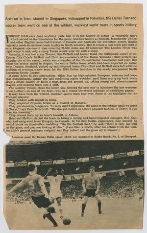 A newspaper page, a drawing of three men in a soccer match at the bottom. The top of the page are several paragraphs of text.