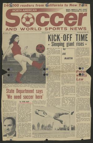 Part of a newspaper page is seen, with the article title at the top left in red. There are six columns of text on it. On the right side of a photograph of a man in the air with a soccer ball. The left bottom corner is a picture of a mans head.