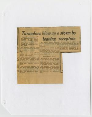 Newspaper clipping titled Tornadoes Blow Up A Storm at the top, three columns of text under it.