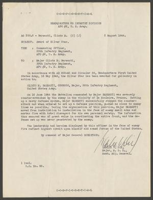 A white paper containing a typed letter detailing the reasons General  Barsanti would be receiving an award, based on his bravery on mission.