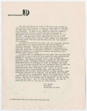 A white page, with Dallas Gay Alliance at the top with a symbol of human faces next to it. The middle of the page is a letter with four paragraphs.