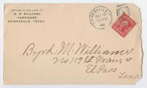 An envelope, torn on the right side. The top left corner contains an address, the top right a red stamp. The bottom middle has an address written in pen.