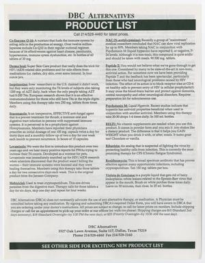 A white page titled DC Alternatives and Product list, followed by two columns of text listing different medicines.