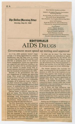 A newspaper page titled AIDS Drugs, followed by two columns of text. Above that is the Dallas Morning News on the top left.