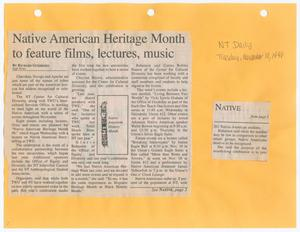 Two square newspaper clippings side by side each other. The one on the right is small and has the word Native at the top followed by a bit of text. The bigger square on the left has the news article at the top and three columns of text. They both rest on bright orange paper, the words NT Daily and the date written at the top right in pencil.