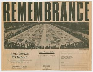 A newspaper clipping with the word REMEMBRANCE at the top in big black letters. Under it is a picture of the quilt memorial.