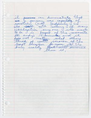 Notebook paper with blue ink handwriting on the top half.