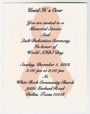 A white invitation with a faded red ribbon in the middle of it. Over the invitation is black text, announcing the memorial event.