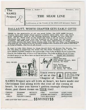 A white page titled The Seam Line at the top, under that is the title Dallas/Ft. Worth Chapter Gets Early Gifts. Under that are three sections of text. There is a drawing of a house on it.