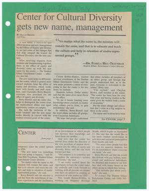 Two newspaper clippings rest on a green page. The one at the top contains the article title, with three columns of text under it. The top of the first two columns is broken up by a block with a quote. The clipping at the bottom contains the word Center in the top left corner and has three columns of text.