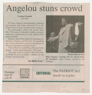 A newspaper clipping with the title at the top. Under it on the left are three short paragraphs of text. To its right is a photo of an African  American woman.