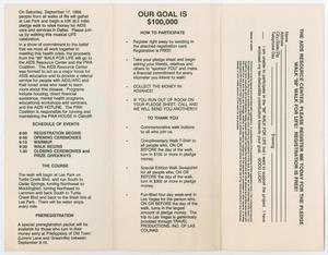 A booklet with three panels. The panel on the left has three sections of text. The middle panel is titled Our Goal Is $100,000, followed by two sections of text. The right panel is a page for registration.