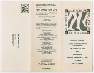 A booklet with three panels. The left panel has the address on it. The panel in the middle syas ** Walk For Life, followed by some text. The right panel is the cover panel.
