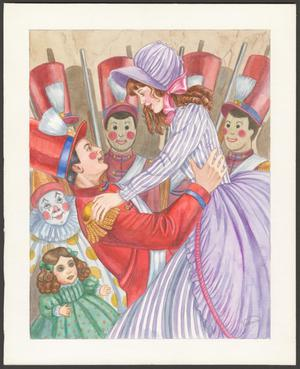 A color illustration of a woman in a striped purple dress with a large skirt, and a purple bonnet is being lifted up by a man dressed in a red military type of suit, with a tall red hat. Behind them are a row of toy soldiers dressed the like man, and a small clown and small doll.