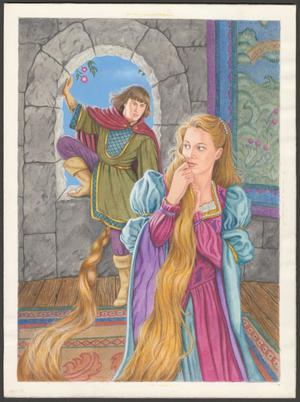 A color illustration showing a woman in a stone castle, and a man coming into the room through an arched window. The woman has extremely long blonde hair, which is partly braided, and trails towards the window. They both wear colorful medieval style clothing.