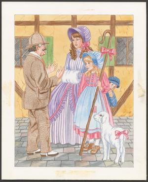 Color illustration with a white border, showing an inspector in a brown suit with a handlebar moustache talking with two women. The older woman wears purple striped dress with a large skirt, and a purple bonnet. The younger girl wears a pink dress and blue bonnet, and holds a large hooked staff with a pink bow tied on it. A lamb with a pink bow on its tail stands next to them.