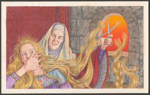 A color illustration of two women shown from the bust up. They are in the stone castle with an arched window behind them. An older ugly woman stands behind the younger woman and cuts her long blonde hair with sharp silver scissors. The younger woman holds her hand in front of her face and looks shocked.