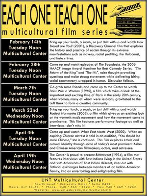 A flyer that has yellow banners, one at the top and the other at the bottom. The left side has six black blocks, containing dates and the same location. Next to each of these are more text describing what the event that day is. The yellow banner at the top contains the title of the flyer with a graphic of a clapperboard.